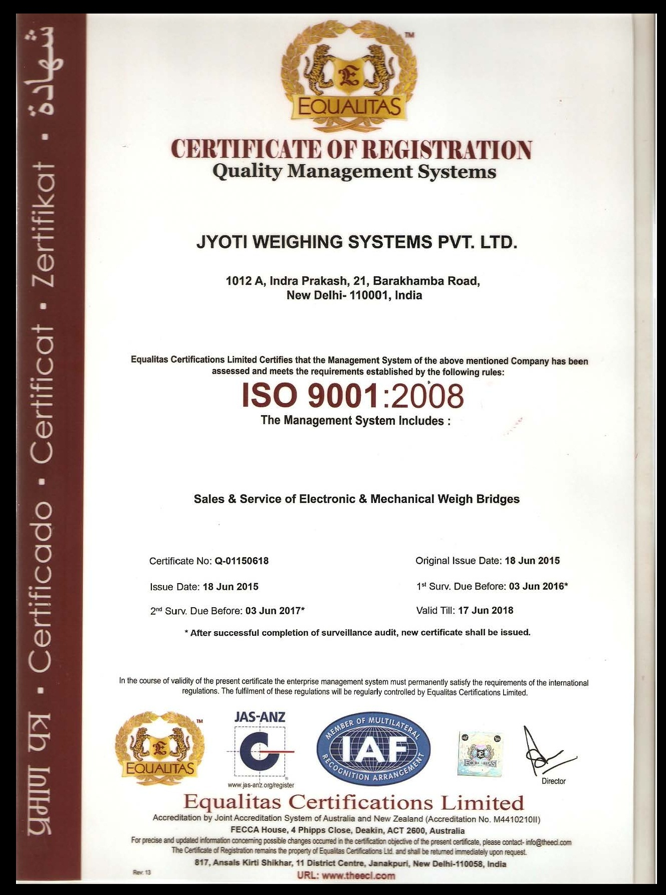 certificates jyoti weighbridges india